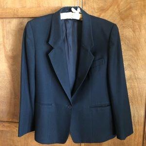 100% worsted wool black one button blazer